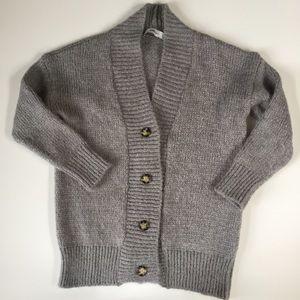 Zara Knit Oversized Gray Cardigan with Wool/Mohair